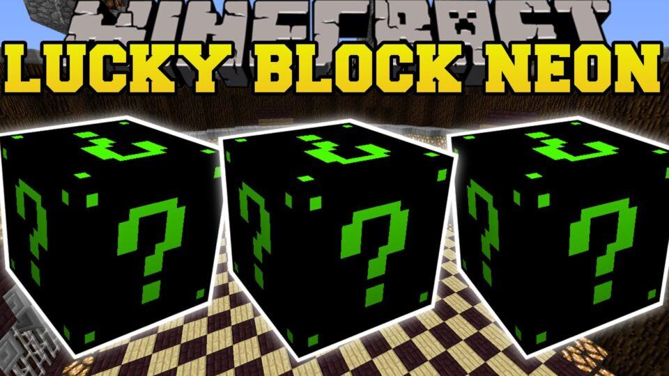 Minecraft: NEON LUCKY BLOCK MOD (SLENDERMAN, DAVER