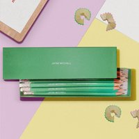 12 Green Glitter Lead Pencils in a Green Box