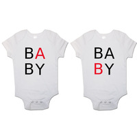"""""""Baby A"""" and """"Baby B' Twin Pack Baby Vests Bodysuits"""