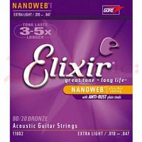 Elixir Nanoweb Acoustic Guitar Strings - Medium