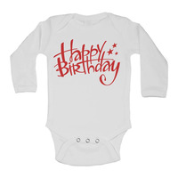 Happy Birthday Long Sleeve Baby Vests