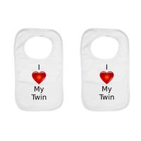 """I Love My Twin"" Twin Pack, Baby Bibs"