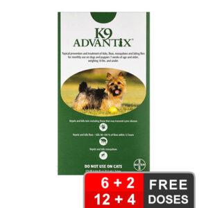 K9 Advantix Small Dogs/Pups 1-10 Lbs Green 12 + 4 Free