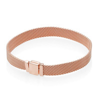 Reflexions Rose Gold Sterling Silver Mesh Bracelet (Select Size: 17cm)