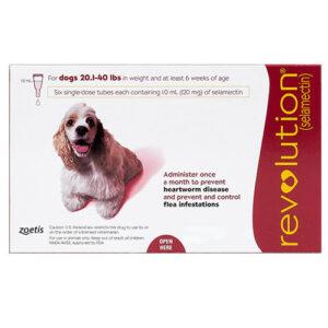 Revolution Medium Dogs 20.1-40lbs Red 6 Doses