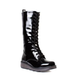 Heavenly Feet Maze Black Patent Lace Up Calf Boot