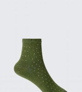 Khaki Pin Stud Socks, Green