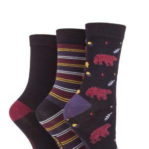 Ladies 3 Pair SOCKSHOP Bamboo Feather Socks Black Bear 4-8 Ladies