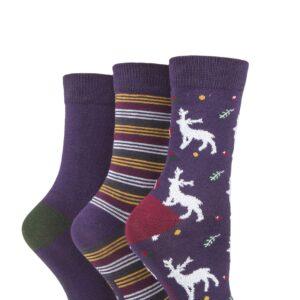 Ladies 3 Pair SOCKSHOP Bamboo Feather Socks Purple Deer 4-8 Ladies
