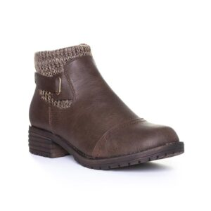 Lotus Womens Brown Knitted Collar Ankle Boot