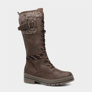 Marco Tozzi Womens Brown Lace Up Calf Boot
