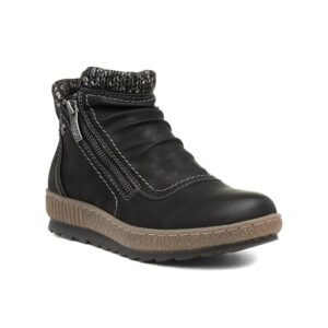 Relife Womens Black Knit Trim Ankle Boot