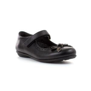 Walkright Girls Black Bow Easy Fasten Shoe