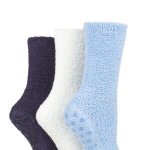 Ladies 3 Pair SOCKSHOP Super Cosy Socks with Grips Mystic Blue 4-8 Ladies