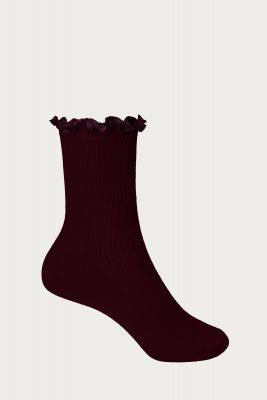 Berry Satin Frill Socks, Red