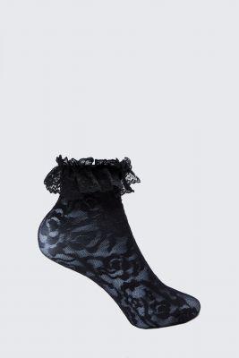 Black Lace Frill Socks, Black