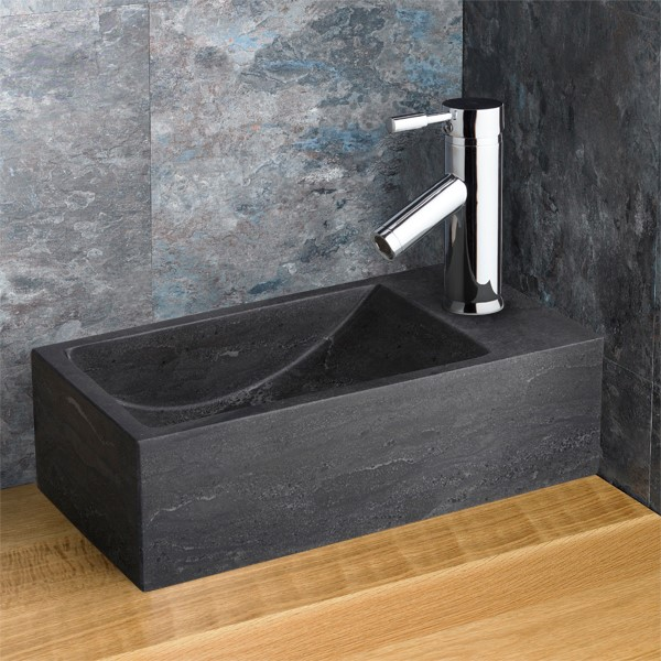 Black Limestone Countertop Basin Right Hand Cloakroom Sink Valletri