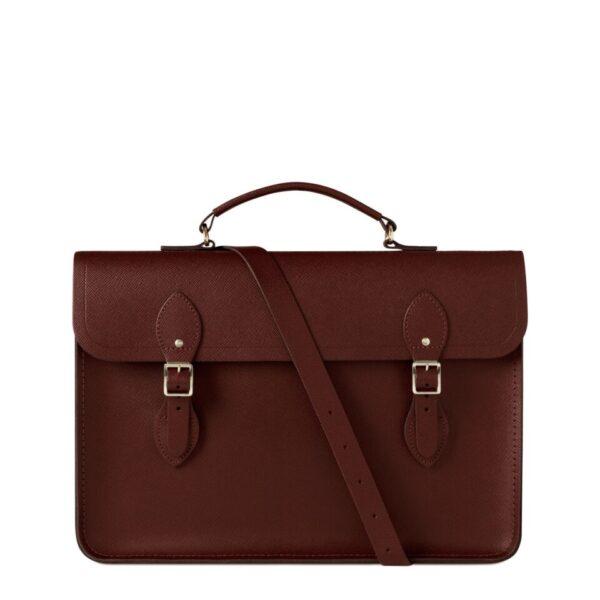 Cambridge Satchel Large Briefcase in Leather - Oxblood Saffiano