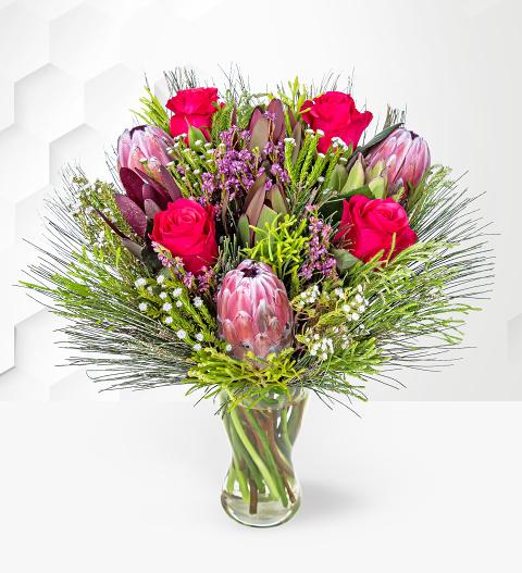 Cerise Protea with Bowl Vase