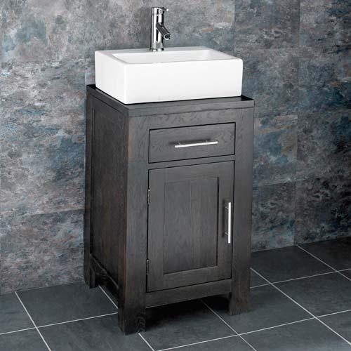 Dark Oak Bathroom Cabinet and Rectangular Basin Bundle White Ceramic Sink with Chrome Tap and Waste Alta