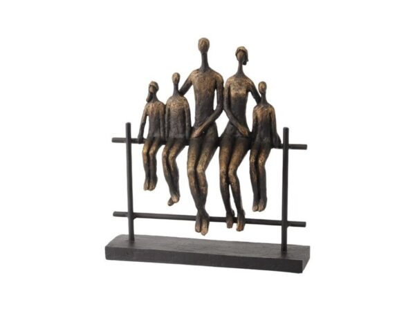 Family of 5 Sitting on Fence Sculpture in Bronze Finish