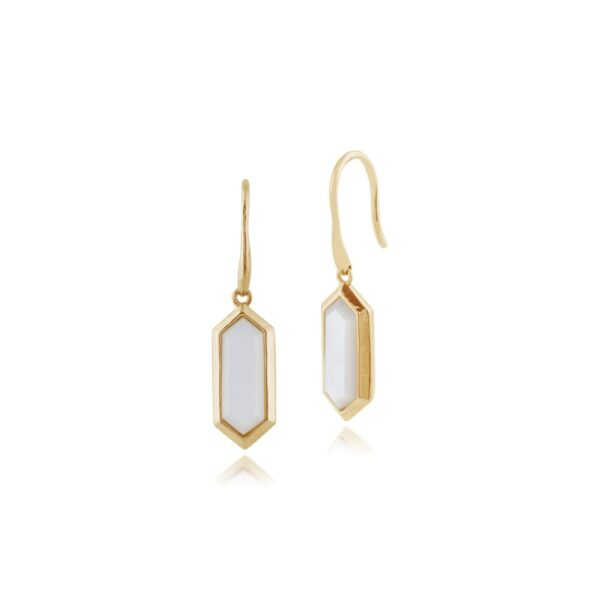 Geometric Hexagon Gold Plated Silver Mother of Pearl Drop Earrings