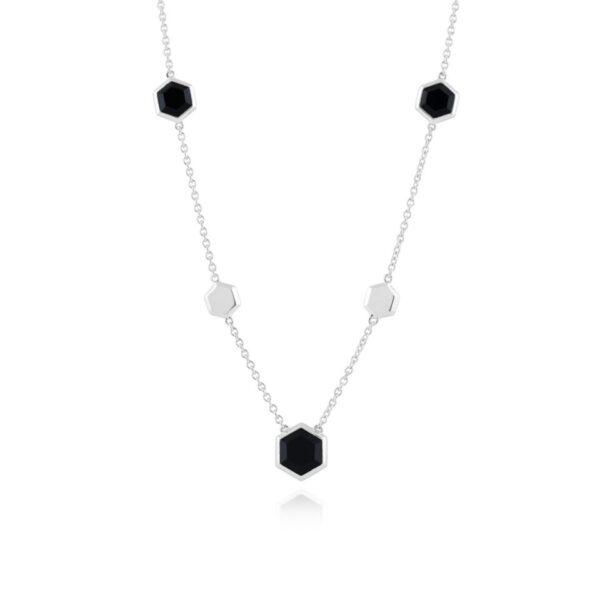 Geometric Hexagon Silver Black Onyx Necklace