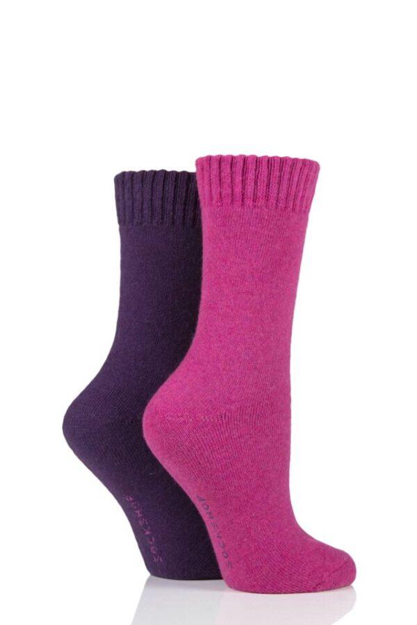 Ladies 2 Pair SOCKSHOP Wool Mix Striped and Plain Boot Socks Winterberry Pansy 4-8 Ladies