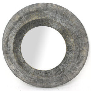 Layla Round Patterned Metal Mirror
