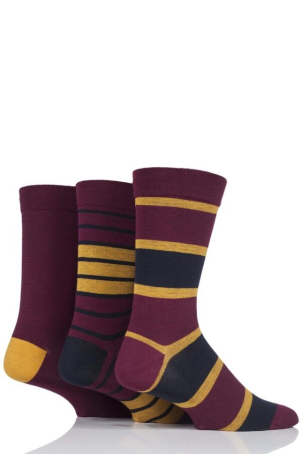 Mens 3 Pair SOCKSHOP Comfort Cuff Gentle Bamboo Striped Socks with Smooth Toe Seams Claret / Gold 7-11 Mens
