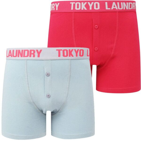 Mens Underwear Edward (2 Pack) Boxer Shorts Set in Blue Fog / Bright Rose - Tokyo Laundry / XXL - Tokyo Laundry