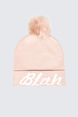 Nude Blah Slogan Hat, Nude