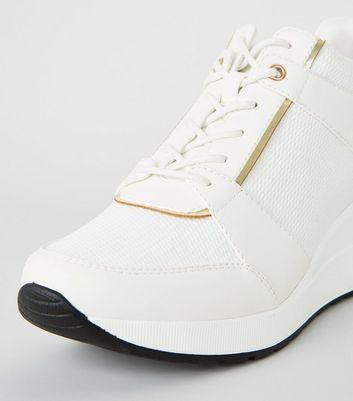 White Leather-Look Glitter Panel Wedge Trainers New Look Vegan