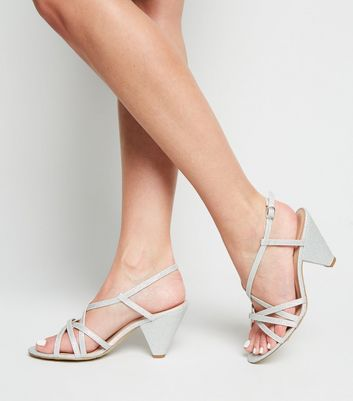 Wide Fit Silver Glitter Strappy Cone Heels New Look