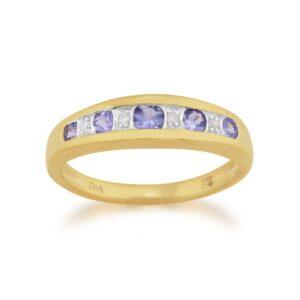 9ct Yellow Gold 0.34ct Tanzanite & Diamond Half Eternity Ring