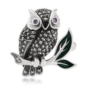Art Nouveau Style Round Marcasite, Amethyst & Enamel Owl Brooch in 925 Sterling Silver