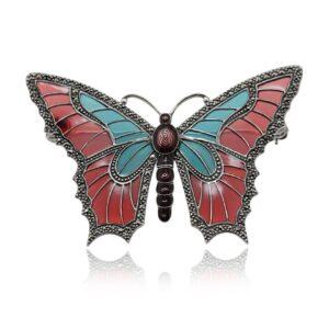 Art Nouveau Style Round Marcasite & Enamel Butterfly Brooch in 925 Sterling Silver