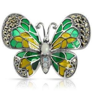 Art Nouveau Style Round Opal Marcasite & Enamel Butterfly Brooch in 925 Sterling Silver