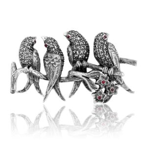Art Nouveau Style Round Ruby & Marcasite Bird Brooch in 925 Sterling Silver