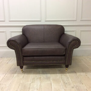 Chelsea 1.5 Seater Chair in Dune Coffee Leather with Studding and castors
