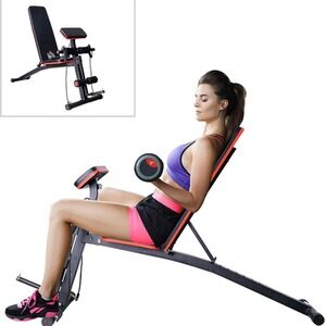 Foldable Dumbbell Bench Weight Training Home Gym - Black