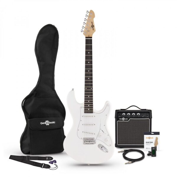 LA Electric Guitar + Amp Pack White