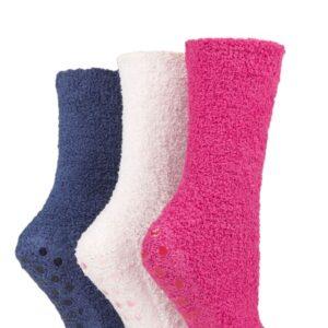 Ladies 3 Pair SOCKSHOP Super Cosy Socks with Grips Raspberry Sorbet 4-8 Ladies