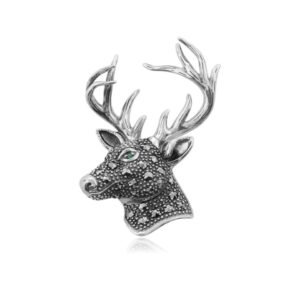Marcasite & Emerald Badger Brooch in 925 Sterling Silver