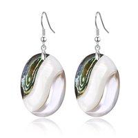 Abalone Shell Oval Drop Earrings