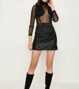 Black Shirred Pu Mini Skirt, Black