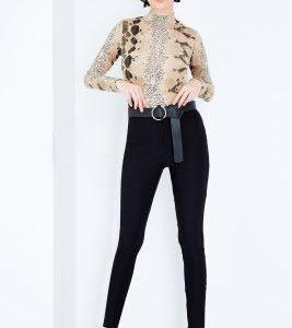 Black Skinny High Waist Regular Pants, Black