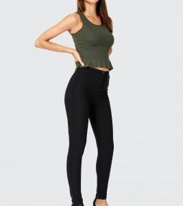 Black Skinny High Waist Trouser Long Trousers, Black