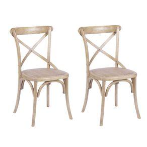 Cadeira Design Cross em Madeira Clara - 2 Unidades
