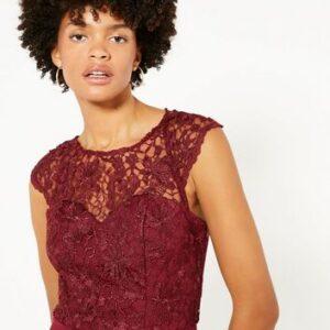 Chi Chi London Burgundy Lace Frill Midi Dress New Look